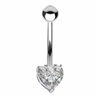 14K Solid White Gold Heart Prong-Set Belly Button Ring