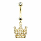(DISCONTINUED) 14K Solid Gold Jeweled Crown Belly Button Ring