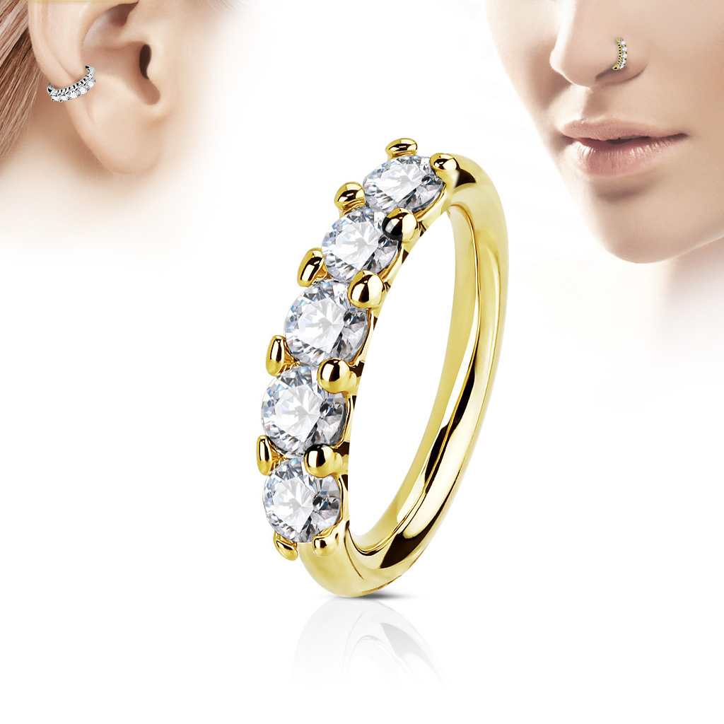 20g cartilage earrings 14k gold multi cz hoop ring for nose cartilage tragus 7657