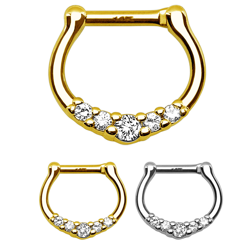 14k Gold Multi Cz Clicker Ring For Septum Daith Rook