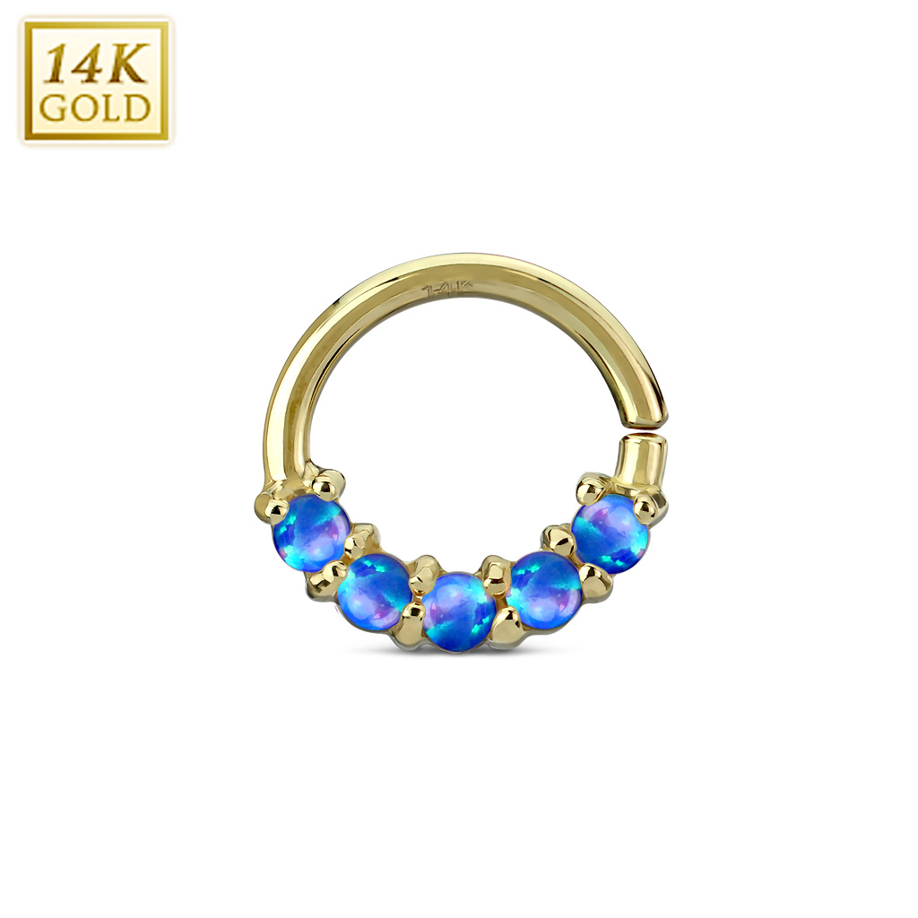 Discontinued 14k Gold Pink Opal 16g Hoop Ring For