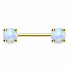 14K Gold Nipple Ring Barbell with 5mm Prong-Set Opal