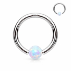 14K Gold Opal AB Captive Hoop Ring for Nose, Ear Cartilage, Daith - 20G, 18G, 16G