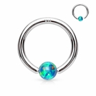 14K Gold Opal Green Captive Hoop Ring for Nose, Ear Cartilage, Daith - 20G, 18G, 16G
