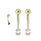 14K Solid Gold Prong-Set 16G Curved Barbell for Eyebrow and Rook Piercing