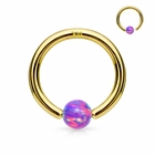14K Gold Purple Opal Ball Attached Hoop Ring for Nose, Cartilage, Helix, Daith