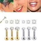 (OUT OF STOCK) 14K Solid Gold Push-In Prong-Setting CZ Labret - 14 Gauge