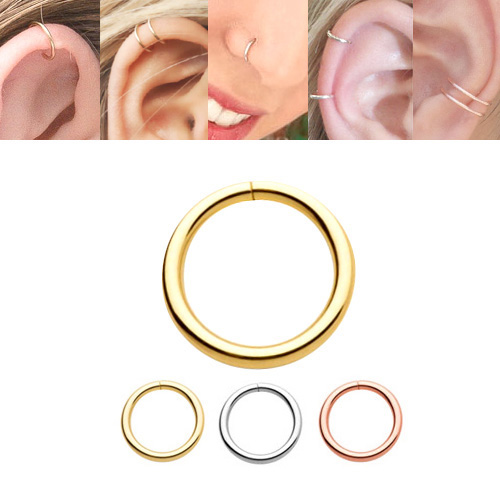 dc69ea9ce 14K Gold Seamless Hoop Ring for Nose, Cartilage, Daith, Tragus, Septum