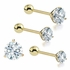14K Gold Low-Profile Tri-Prong CZ Single Barbell Earring for Cartilage, Tragus, Helix