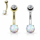 (DISCONTINUED) 14K Solid Gold 6mm Opal Stone Belly Button Ring