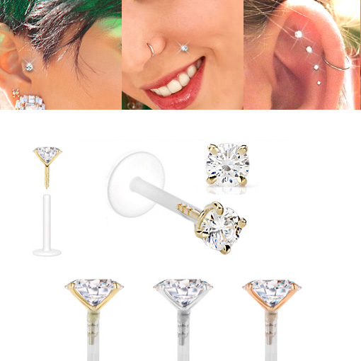 Unisex Tragus Stud Nose Stud 14kt Yellow Gold Labret Stud 16G Monroe Stud w 3MM Ball Sold per piece Lip Ring CZ Accented Lip Piercing