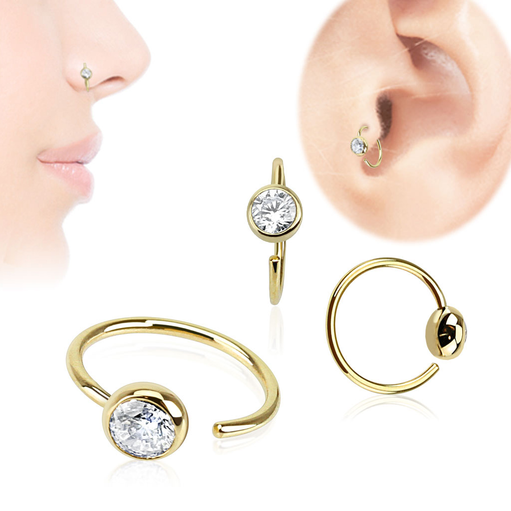 14k solid gold cz ball hoop ring for nose cartilage