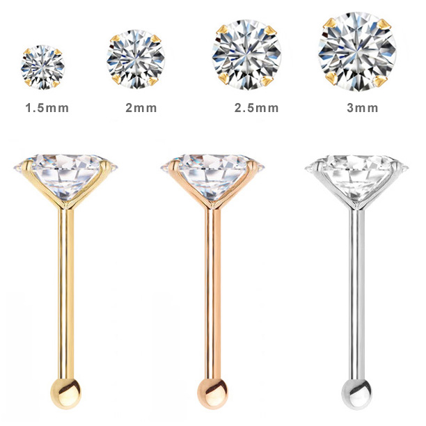 tragus ball gold cartilage diamond nose earring ring genuine com dp stud solid amazon