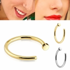 14K Solid Gold Easy-Fit Open Hoop Ring for Nose, Cartilage, Daith Piercing - 20G, 18G (gno204)