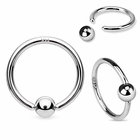14K Solid White Gold Captive Hoop Ring - Tension-Set