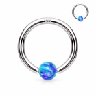 14K White Gold Blue Opal Ball Attached Hoop Ring for Nose, Cartilage, Daith