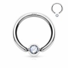 14K Solid White Gold Captive Hoop Ring with Cubic Zirconia
