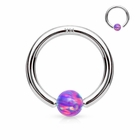 14K White Gold Purple Opal Ball Attached Hoop Ring for Nose, Cartilage, Daith