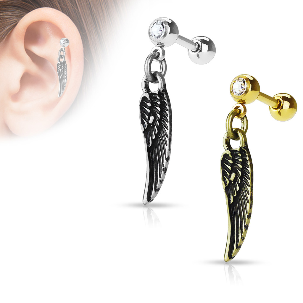 16 cartilage earrings 16 wing dangle tragus cartilage barbell earring 9646