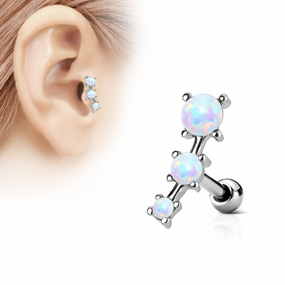Discontinued 16 Gauge 1 4 Triple Opal Cartilage Tragus Earring