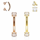 16 Gauge Internally Threaded Prong-Set CZ Curved Barbell for Rook, Eyebrow, Daith, Cartilage
