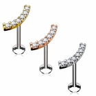16G Internal Threaded Stud for Cartilage, Helix, Tragus, Monroe - Lined Curved CZ