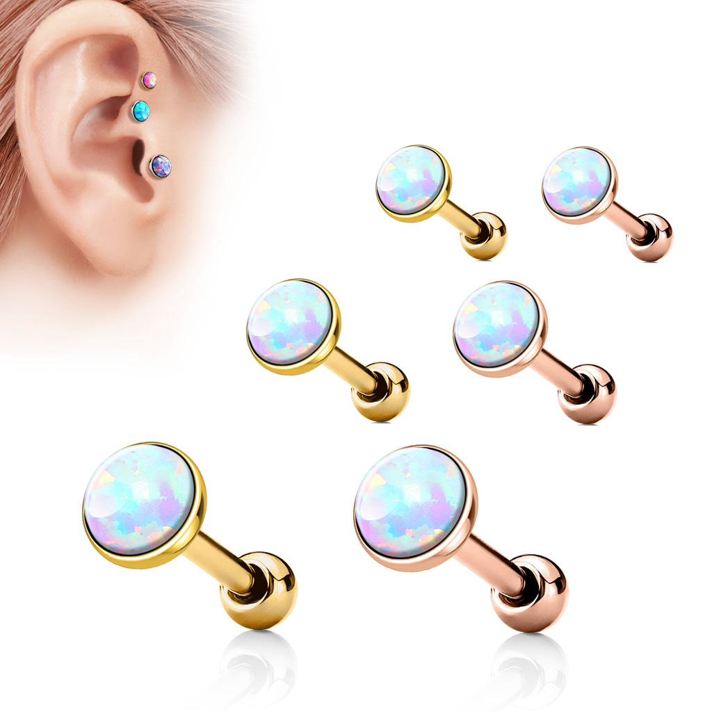 16 Gauge Opal Barbell For Cartilage Helix Tragus Piercing