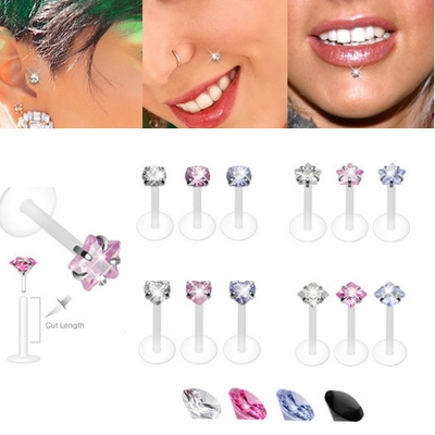 16G Bioplast Push-In Silver Stud for Monroe, Labret, Tragus, Helix