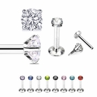 16G Internal Threaded Prong-Set CZ Stud for Monroe, Labret, Tragus, Helix Earring
