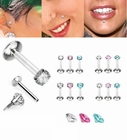 16G Internal Threaded Prong-Set CZ Monroe/Helix/Tragus Stud Earring