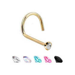Gold Plated Nose Ring - Screw Type