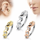 316L 20G Hoop Ring for Nose, Cartilage Piercing - Jeweled Twisted Circle