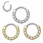 316L Multi-Jeweled 16G Clicker Ring for Cartilage, Helix, Daith, Septum