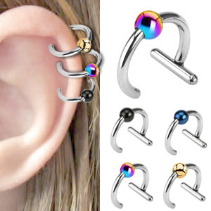 316L Non-Piercing Clip-On T-Bar for Lip/Nose/Ear