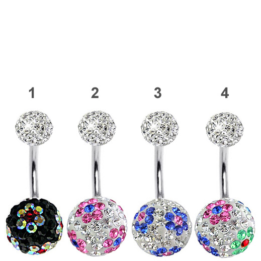 3438f34e2 360 Ferido Crystal Belly Button Ring - Flower Gems. Hover to zoom