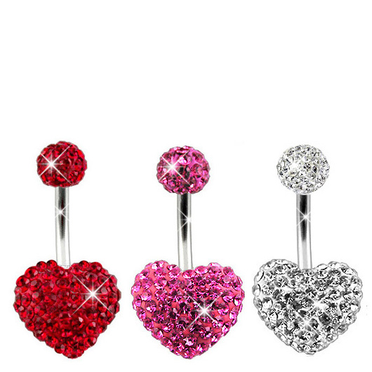 Details about  /Surgical Steel Belly Button Navel Rings CZ Paved Hollow Heart w// CZ Flower Cente