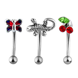 3D 16G Eyebrow Ring Curved Barbell