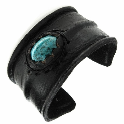 Bend-to-Fit Black Leather Cuff - Turquoise