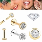 DIAMOND Cartilage, Helix, Tragus, Monroe, Labret, Nose - 17G Bezel Flat Back Push-In
