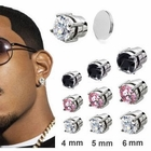 Round Prong-Set CZ Magnetic Stud Fake Earring (Price Per Each)