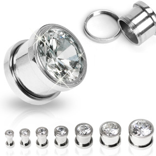 CZ Flesh Tunnel Threaded Plug Earring