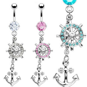 dangling jeweled anchor belly button ring