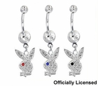 Dangling Pave Playboy Belly Button Ring  (OUT OF STOCK)