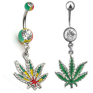 Dangling Pot Leaf Belly Button Ring Collection