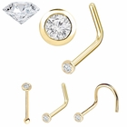 Bezel-Set Diamond Nose Ring - 20 Gauge 14K Yellow Gold 2mm 2.5mm
