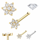 (OUT OF STOCK) DIAMOND Flower Nose Ring - 14K Gold Bone Type