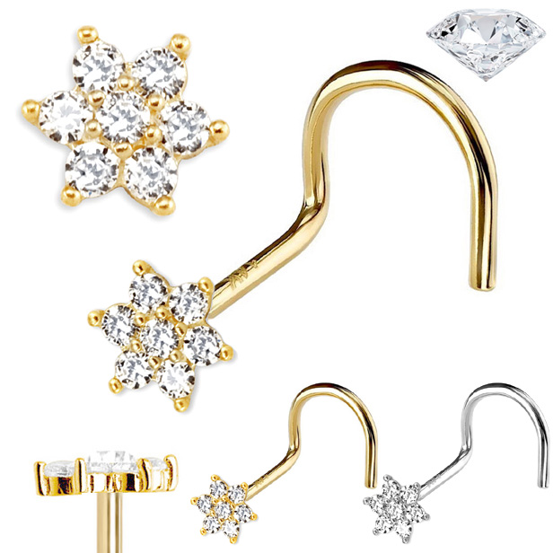 Out Of Stock Diamond Flower Nose Ring 14k Gold Screw Type