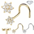 (OUT OF STOCK) DIAMOND Flower Nose Ring - 14K Gold Screw Type
