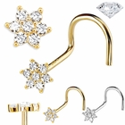 DIAMOND Flower Nose Ring - 14K Gold Screw Type