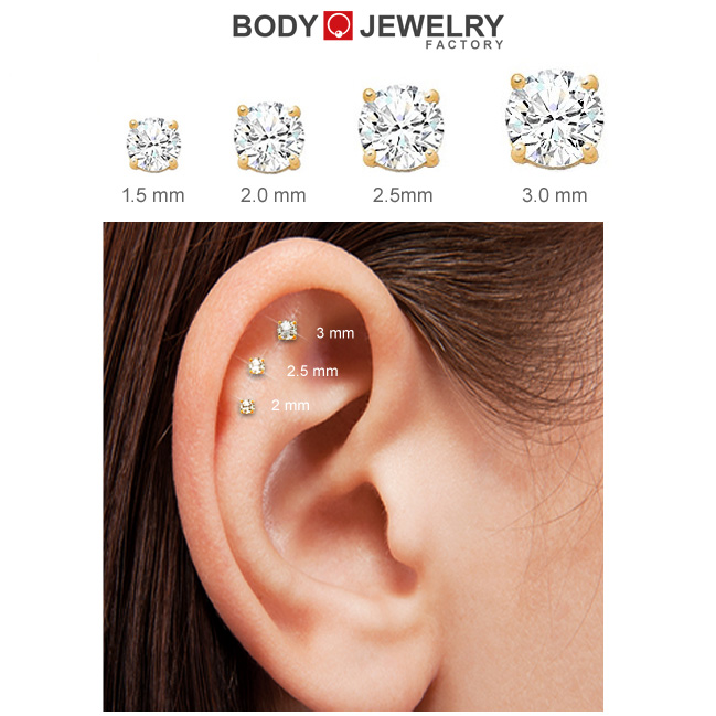 Out Of Stock Diamond 14k Internally Threaded Cartilage Tragus
